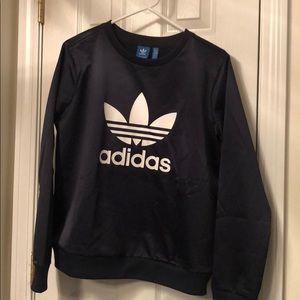 Adidas satin sweatshirt medium navy